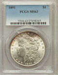Morgan Dollars: , 1891 $1 MS63 PCGS. PCGS Population (2945/1882). NGC Census:(2218/1288). Mintage: 8,694,206. Numismedia Wsl. Price for prob...