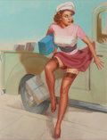 Pin-up and Glamour Art, K.O. (KNUTE) MUNSON (American, 20th Century). Sneaking Away withthe Packages. Pastel on board. 31 x 23.5 in. (image). S...