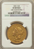 Liberty Double Eagles, 1850 $20 --Obv Scratched-- NGC Details. XF. NGC Census: (121/1021).PCGS Population (121/608). Mintage: 1,170,261. Numismed...