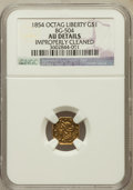 California Fractional Gold: , 1854 $1 Large Eagle Octagonal 1 Dollar, BG-504, Low R.5, --Improperly Cleaned -- NGC Details. AU. NGC Census: (0/6). PCGS ...