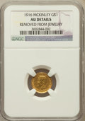 Commemorative Gold, 1916 G$1 McKinley -- Removed From Jewelry -- NGC Details. AU. NGCCensus: (0/2499). PCGS Population (8/4543). Mintage: 9,97...