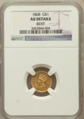 Gold Dollars: , 1868 G$1 -- Bent -- NGC Details. AU. NGC Census: (0/105). PCGSPopulation (5/107). Mintage: 10,525. Numismedia Wsl. Price f...