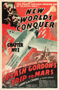 "Movie Posters:Serial, Flash Gordon's Trip to Mars (Universal, 1938). One Sheet (27"" X41"") Chapter 1 -- ""New World's to Conquer."". ..."