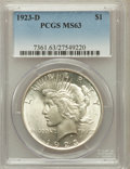 Peace Dollars: , 1923-D $1 MS63 PCGS. PCGS Population (1509/1854). NGC Census:(929/1267). Mintage: 6,811,000. Numismedia Wsl. Price for pro...