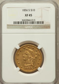 Liberty Eagles: , 1856-S $10 XF45 NGC. NGC Census: (39/163). PCGS Population (23/90).Mintage: 68,000. Numismedia Wsl. Price for problem free...