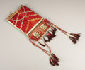 American Indian Art:Beadwork, A SIOUX QUILLED HIDE MIRROR BAG. . c. 1890. ...