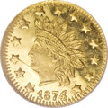 California Fractional Gold, 1874/3 50C Indian Round 50 Cents, BG-1052, High R.4, MS66 DeepProoflike NGC....