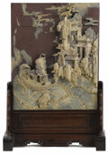 Asian:Chinese, A Carved Slate Table Screen. . Unknown maker, Chinese. 19th century. Carved slate . 13.38 inches high x 11 inches wide. ...