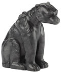 Asian:Chinese, An Inuit Spinach-Green Jade Carved Model of a Bear. Unknown maker,Inuit. 19th/20th century. Carved jade. Unmarked. 6 ...