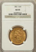 Liberty Eagles: , 1861 $10 AU55 NGC. NGC Census: (117/213). PCGS Population (41/59).Mintage: 113,100. Numismedia Wsl. Price for problem free...