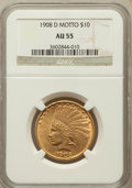 Indian Eagles: , 1908-D $10 Motto AU55 NGC. NGC Census: (47/615). PCGS Population(72/571). Mintage: 836,500. Numismedia Wsl. Price for prob...