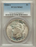 Peace Dollars: , 1928-S $1 MS62 PCGS. PCGS Population (979/3777). NGC Census:(765/2601). Mintage: 1,632,000. Numismedia Wsl. Price for prob...