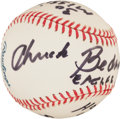 Autographs:Baseballs, Chuck Bednarik Single Signed Ball With Lengthy MilitaryInscription!...