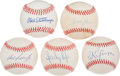 Autographs:Baseballs, Collection of 5 Single Signed Yankees Pitchers Baseballs. ...