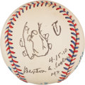 Autographs:Baseballs, Denton A. Cooley Single Signed Baseball With Heart Drawing!(Surgeon Responsible For First Heart Transplant)...