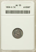 Seated Half Dimes: , 1858-O H10C AU55 ANACS. NGC Census: (4/214). PCGS Population(11/175). Mintage: 1,660,000. Numismedia Wsl. Price for proble...