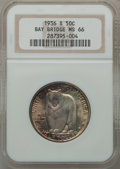 Commemorative Silver: , 1936-S 50C Bay Bridge MS66 NGC. NGC Census: (577/91). PCGSPopulation (794/135). Mintage: 71,424. Numismedia Wsl. Price for...