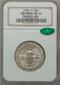 Commemorative Silver: , 1936-S 50C Columbia MS66 NGC. CAC. NGC Census: (610/124). PCGSPopulation (486/91). Mintage: 8,007. Numismedia Wsl. Price f...