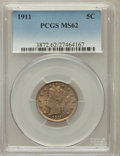 Liberty Nickels: , 1911 5C MS62 PCGS. PCGS Population (139/1107). NGC Census:(125/960). Mintage: 39,559,372. Numismedia Wsl. Price for proble...