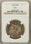 Walking Liberty Half Dollars: , 1920-D 50C Fine 15 NGC. NGC Census: (17/262). PCGS Population(42/434). Mintage: 1,551,000. Numismedia Wsl. Price for probl...