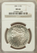 Morgan Dollars: , 1881-S $1 MS66 NGC. NGC Census: (16053/4170). PCGS Population(12167/1743). Mintage: 12,760,000. Numismedia Wsl. Price for ...