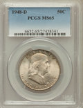 Franklin Half Dollars: , 1948-D 50C MS65 PCGS. PCGS Population (216/3). NGC Census:(531/20). Mintage: 4,028,600. Numismedia Wsl. Price for problem ...