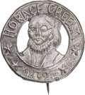 Political:Ferrotypes / Photo Badges (pre-1896), Horace Greeley: Unlisted Die-Cut Portrait Badge....