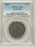 Large Cents, 1819 1C Small Date VF30 PCGS. PCGS Population (5/81). NGC Census:(0/0). Numismedia Wsl. Price for problem free NGC/PCGS c...