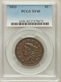 Large Cents, 1833 1C XF40 PCGS. PCGS Population (16/148). NGC Census: (9/165).Mintage: 2,739,000. Numismedia Wsl. Price for problem fre...