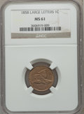 Flying Eagle Cents: , 1858 1C Large Letters MS61 NGC. NGC Census: (1/164). PCGSPopulation (36/1263). Mintage: 24,600,000. Numismedia Wsl. Price...