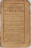 Books:Americana & American History, [Americana] Walker's Almanack With an Ephemeris on the Year ofOur Lord 1803. Thomas Walker, [no date]. Printed ...
