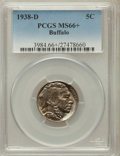 Buffalo Nickels, 1938-D 5C MS66+ PCGS. PCGS Population (28122/1599). NGC Census:(19700/1958). Mintage: 7,020,000. Numismedia Wsl. Price for...