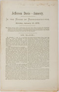 Books:Americana & American History, [Jefferson Davis] Jefferson Davis - Amnesty. In the House ofRepresentatives, Monday, January 10, 1876. [No publ...