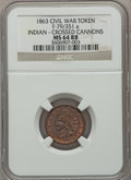 Civil War Patriotics, 1863 Army & Navy MS63 Brown NGC, Fuld-13/297a; 1863 Indian -Crossed Cannons MS64 Red and Brown NGC, Fuld-79/351a; 1863Little... (Total: 4 coins)