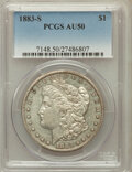 Morgan Dollars: , 1883-S $1 AU50 PCGS. PCGS Population (449/4239). NGC Census:(452/3604). Mintage: 6,250,000. Numismedia Wsl. Price for prob...