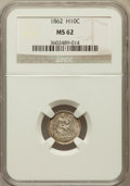 Seated Half Dimes: , 1862 H10C MS62 NGC. NGC Census: (77/444). PCGS Population(104/424). Mintage: 1,492,550. Numismedia Wsl. Price for problem...
