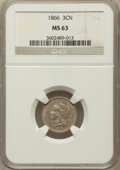 Three Cent Nickels: , 1866 3CN MS63 NGC. NGC Census: (132/332). PCGS Population(206/296). Mintage: 4,801,000. Numismedia Wsl. Price for problem...