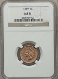Indian Cents: , 1859 1C MS61 NGC. NGC Census: (2/13). PCGS Population (25/1471).Mintage: 36,400,000. Numismedia Wsl. Price for problem fre...