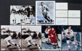 Football Collectibles:Photos, Football And Hockey Legends Signed Photographs And Index Cards Lot Of 11....