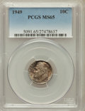Roosevelt Dimes: , 1949 10C MS65 PCGS. PCGS Population (248/703). NGC Census:(110/805). Mintage: 30,940,000. Numismedia Wsl. Price for proble...