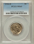 Buffalo Nickels: , 1936-D 5C MS65 PCGS. PCGS Population (1765/775). NGC Census:(950/677). Mintage: 24,814,000. Numismedia Wsl. Price for prob...