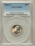 Roosevelt Dimes: , 1951-S 10C MS67 PCGS. PCGS Population (265/7). NGC Census:(592/21). Mintage: 31,630,000. Numismedia Wsl. Price for problem...