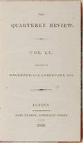 Books:Americana & American History, [Slavery]. The Quarterly Review. Vol. LV. John Murray, 1836.First edition, first printing. Contemporary half le...