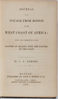 Books:Americana & American History, [Slavery]. J. A. Carnes. Journal of a Voyage from Boston to theWest Coast of Africa. Jewett, 1852. First editio...