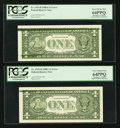 Error Notes:Ink Smears, Fr. 1915-H $1 1988A Federal Reserve Notes. Two ConsecutiveExamples. PCGS Very Choice New 64PPQ.. ... (Total: 2 notes)