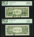Error Notes:Ink Smears, Fr. 1909-G $1 1977 Federal Reserve Note. PCGS Very Fine 35PPQ;. Fr.1909-H $1 1977 Federal Reserve Note. PCGS Very Choice New ...(Total: 2 notes)