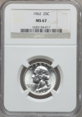 Washington Quarters: , 1962 25C MS67 NGC. NGC Census: (73/1). PCGS Population (13/0).Mintage: 36,100,000. Numismedia Wsl. Price for problem free ...