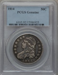 Bust Half Dollars, 1814 50C --Cleaned-- PCGS Genuine. Mintage: 1,039,075....