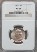 Washington Quarters: , 1963 25C MS67 NGC. NGC Census: (63/0). PCGS Population (9/0).Mintage: 74,300,000. Numismedia Wsl. Price for problem free N...