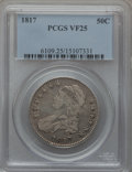 Bust Half Dollars: , 1817 50C VF25 PCGS. PCGS Population (33/538). NGC Census: (16/394).Mintage: 1,215,567. Numismedia Wsl. Price for problem f...